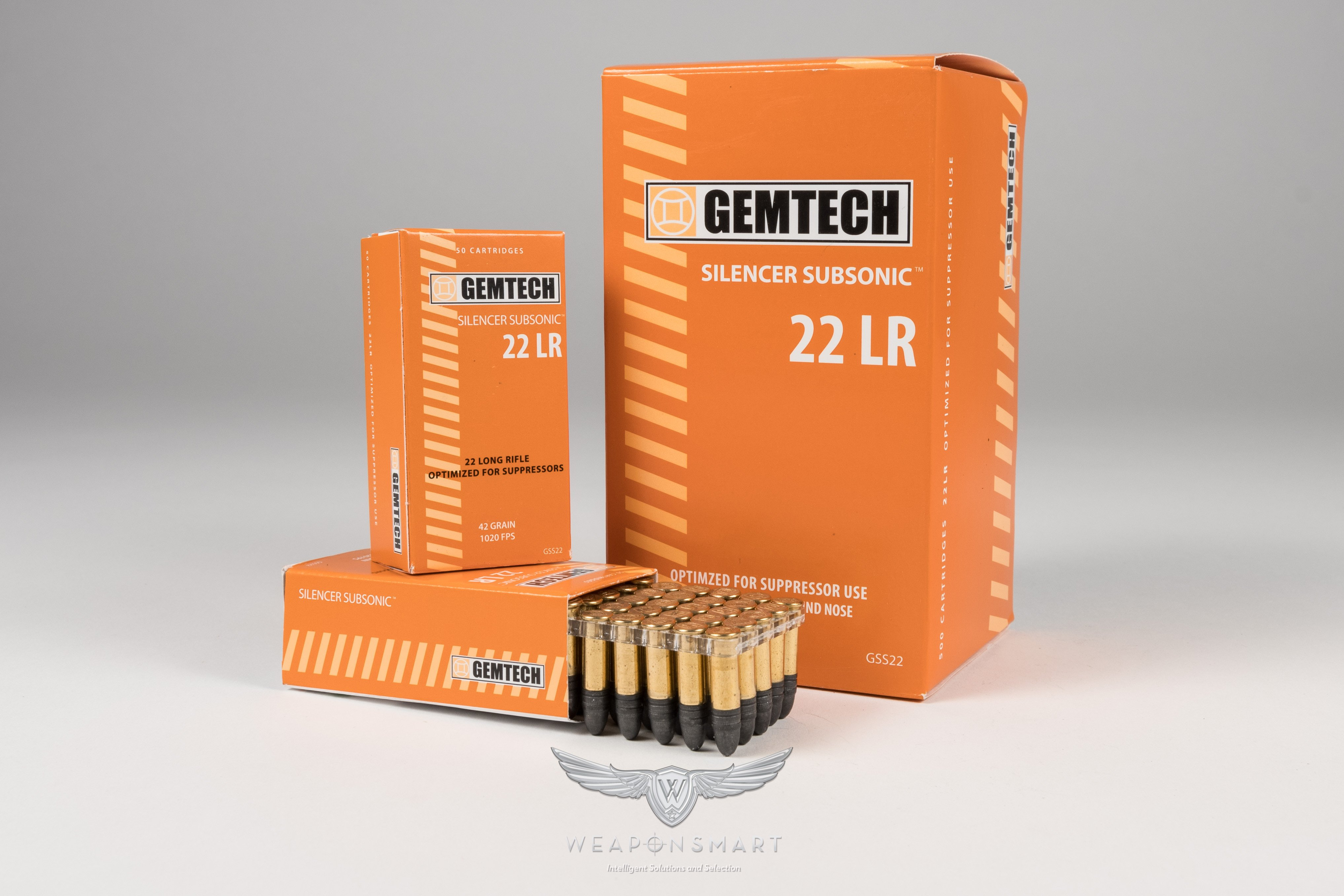 weaponsmart gemtech subsonic 22 long rifle 42 grain lead round