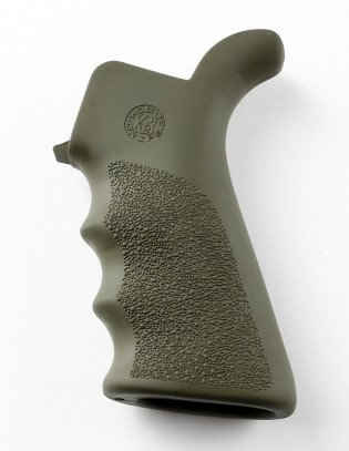 HOGUE AR-15/M-16 RUBBER GRIP BEAVERTAIL WITH FINGER GROOVES OD GREEN